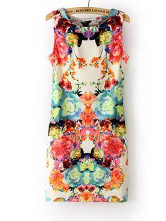 mangas Vintage em torno do pescoço vestido floral da Mulher - R$33.80