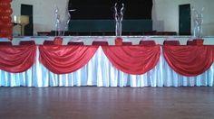 Red satin!! Quinceañera head table by Queen of Quinceañeras