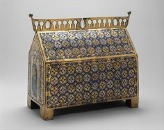 This chasse served as a container for saints' relics—often bones or pieces of cloth. The chasse depicts Christ in Majesty surrounded by saints on the lower front and the Lamb of God, emblematic of Jesus, flanked by angels on the sloping roof
