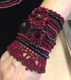 FREE SHIPPING Handmade Crochet Bracelet Beaded Cuff by NIArtStudio Yarn Bracelets, Beaded Cuff Bracelet, Crochet Bracelet, Freeform Crochet, Thread Crochet, Crochet Lace, Outlander Knitting Patterns, Crochet Necklace Pattern, Fancy Hands