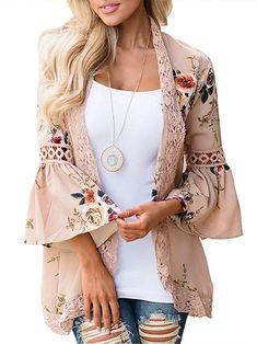 c9a3196043cb9 Nekosi Womens 3 4 Bell Sleeve Hollow Out Lace Floral Print Short Kimono  Cardigans Khaki