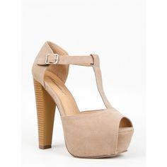 BRINA-01 Sandal ($31) ❤ liked on Polyvore featuring shoes, sandals, beige, platform sandals, strappy platform sandals, beige shoes, wide heel sandals and strap sandals
