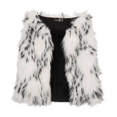 bodywarmer Fancy Fur Black/White