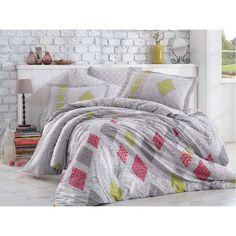 Dose Of Modern Rhapsody - Grey Poplin Double Quilt Cover Set - Grey Red Green Decor Interior Design, Interior Decorating, Double Quilt, Quilt Cover Sets, Flat Sheets, 1 Piece, Poplin, Red Green, Duvet Covers