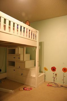 Deciding to Buy a Loft Space Bed (Bunk Beds). – Bunk Beds for Kids Bunk Beds With Stairs, Kids Bunk Beds, Loft Beds, Bed Stairs, Bunk Bed Steps, Loft Staircase, Loft Spaces, Small Spaces, Small Rooms