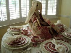 Red toile pattern
