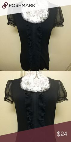 WHBM CHIFFON SLEEVES RIBBON FRONT LIKE NEW. STRETCHY COMFY TSHIRT WITH A GIRLY TOUCH OF RIBBON FRONT AND SEE THROUGH CHIFFON SLEEVES. White House Black Market Tops
