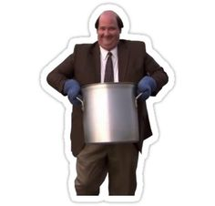 'Kevin's Famous Chilli' Sticker by Baskervillain Wallpaper Stickers, Cute Wallpaper Backgrounds, Cute Wallpapers, Meme Stickers, Snapchat Stickers, The Office Stickers, Laptop Stickers, Somehow I Manage, Office Jokes