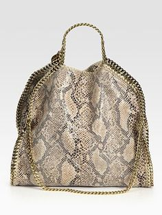 Stella McCartney Snake-Printed Linen Falabella Foldover Tote Bag