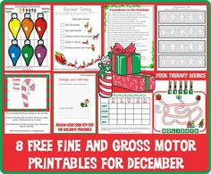 Your Therapy Source - www.YourTherapySource.com: 8 FREE Printable Fine and Gross Motor Activities for December