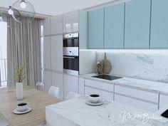 Modrá ako vítané osvieženie - Kristína Bedečová Living Room Kitchen, Bathroom Lighting, Kitchen Design, New Homes, Mirror, Furniture, Home Decor, Bathroom Light Fittings, Bathroom Vanity Lighting
