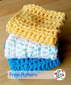 """For week 10, I designed a dish cloth using a stitch I have been playing with lately. I have named the stitch a """"chunky hdc stitch"""". This cloth works up quickly and has a nice look to it. Pretty N Easy Dish Cloth Materials Cotton yarn in color of choice I Crochet Hook Yarn needle for w"""