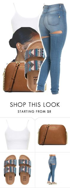 """7/8/16"" by lookatimani ❤ liked on Polyvore featuring Topshop, MICHAEL Michael Kors and Billabong"
