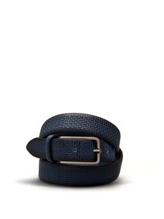 Rounded belt in washed leather with plait print. #ss15 #man #accessories