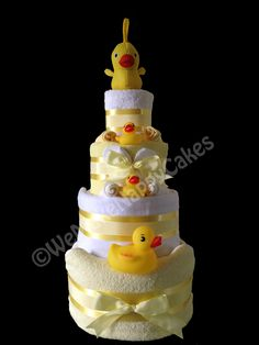 4 Tier Lemon Duck Nappy Cake for New Baby & Baby Shower Gift