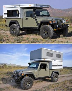 at the link you can see the inside of the camper. Truck Bed Camper, Pickup Camper, Rv Truck, Off Road Camper, Jeep Pickup, Truck Camping, Camper Trailers, Trucks, Jeep Camping Trailer