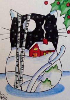 "Aceo  Original  ATC OOAK    ""CHRISTMAS CAT 2""   pencil/ink  #OutsiderArt"