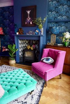 10 Blue Living Room Ideas That Make an Unforgettable Statement - living room designs Living Room Color Schemes, Living Room Designs, Colourful Living Room, Living Room Decor Blue, Blue And Pink Living Room, Colourful Lounge, Bold Living Room, Art Deco Living Room, Colorful Rooms