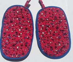 2 Large Butterfly Style Red White Blue Stars by Stitchinthread