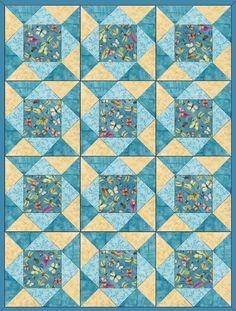 Butterflies French Blue Pre-Cut Quilt Blocks Kit