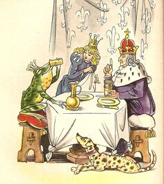 """From """"Frog Prince"""" in Grimms' Fairy Tales by the Brothers Grimm translated by Mrs. E.V. Lucas, Lucy Crane and Marian Edwardes.  Illustration by Fritz Kredel"""