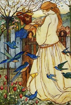 Maiden Song, 1910, Emma Florence Harrison (British,1877–1955) was an Art Nouveau and Pre-Raphaelite illustrator of poetry and children's books