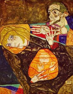 Egon Schiele -The Holy Family, 1913. Gouache and pencil on paper, 47 x 36.5 cm. Private Collection