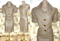 Vintage 80s 60s Jackie O MOD Shift Dress & Jacket Suit Set SILK Linen 8 MADMEN