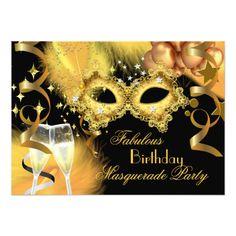 Masquerade Party Invitations Fabulous Gold Black Masquerade Birthday Party Card