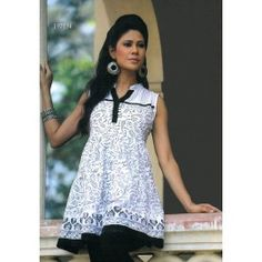 Frock Style Black and White #CottonKurti