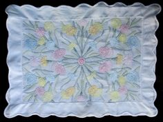 COLORFUL PILLOW SHAM, vintage cotton sham embroidered with stunning shadow work flowers / boudoir pillow / baby's blue pink yellow green