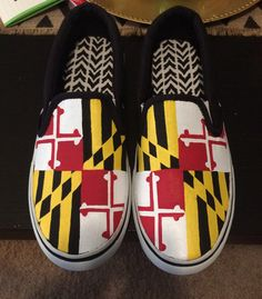 Hand-painted maryland flag inspired shoes by CraftyTemptations410