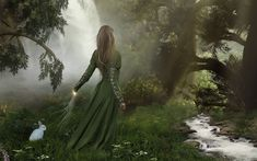 magical ireland desktop wallpaper | Fantasy Girl, fantasy, forest, girl, green, rabbit, tree