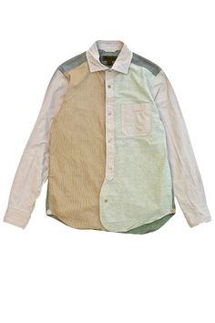 Nigel Cabourn - CRAZY SHIRT (PINPOINT OX.) - KHAKI  ナイジェルケーボン《クレイジーシャツ (ピンポイントオックスフォード)》カーキ ナイジェルケーボンのスタンダード。ナイジェルケーボンを代表するブリティッシュオフィサーシャツ。多色の生地を使用したクレイジー仕様で登場。多色の生地を使用し、クレイジーパターンに仕上げたスペシャルな一枚。ファブリックには春夏の生地PINPOINT…