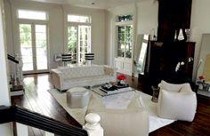 Tuxedo sofa and lucite table