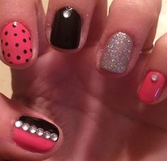 #naileditnbb #pink #black #rhinestones #glitter #dots