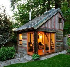 The Backyard House. I wish I had a backyard big enough to build a tiny backyard house. The Backyard House. I wish I had a backyard big enough to build… Future House, Build Your Own Shed, Modern Shed, Backyard Retreat, Backyard Office, Backyard Studio, Backyard Cottage, Cozy Backyard, Rustic Backyard