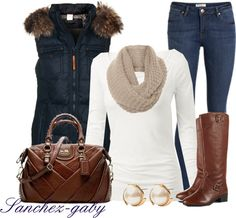 Denim jeans, cream shirt, brown boots, brown handbag, a scarf and a navy vest to make this outfit great for fall or winter
