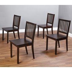 Elegant Four Wood Chairs, Espresso Finish, Dining Set Chairs, Durable, Comfortable, Perfect for Living Room, Dining Room, Kitchen, Seating Area, Home Indoor Furniture, BONUS E-book