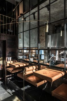 Ukrainian YOD design lab has recently completed NĂM, a restaurant of modern Vietnamese cuisine in Kiev. Modern Industrial Decor, Industrial House, Industrial Interiors, Industrial Shelving, Industrial Style, Industrial Lighting, Industrial Wallpaper, Industrial Office, Industrial Stairs