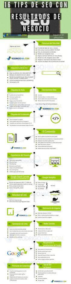 16 consejos SEO que funcionan #infografia #infographic #seo