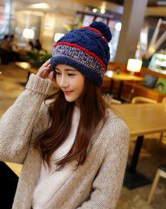Find More Skullies   Beanies Information about 2015 New Arrival Women s Cute  Pompom Crochet Winter Headgear Striped Caps Skulies   Beanies 4ad6983828e2