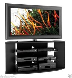 New Black Corner Tv Stand Flat Screen 55 Inch Television Entertainment Center 52