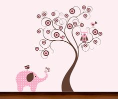 Pink and Brown Dot Pattern Flower Tree with Owl by WhimsyWallArt, $89.00