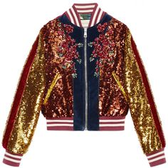 Gucci Embroidered Sequin And Velvet Bomber (47960280 PYG) ❤ liked on Polyvore featuring outerwear, jackets, casaco, coats, gucci, blue, flower bomber jacket, oversized bomber jacket, red jacket and cat jacket