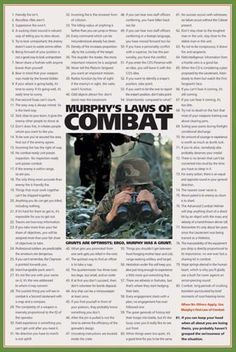 Murphy's Laws of Combat American Military Poster - American Image Coll. Army Humor, Military Humor, Military Life, Military Service, Army Life, Military History, Law Enforcement Jobs, Murphy Law, Military Quotes