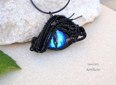 Blue Dragon's Eye wire wrapped pendant  OOAK by Ianira on Etsy