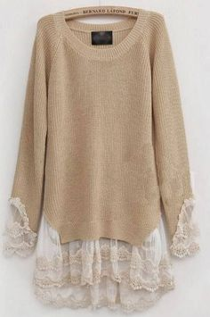 add Lace to Sweaters. I AM going to do this to a sweater.add Lace to Sweaters. I AM going to do this to a sweater. With the most beautiful lace. Diy Fashion, Ideias Fashion, Womens Fashion, Street Fashion, Fashion Ideas, Fashion Sewing, Fashion Tips, Fashion Trends, Lace Knitting