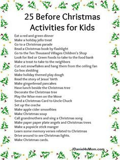 JDaniel4's Mom: A List of Before Christmas Activities for Kids and a Linky!