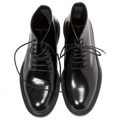 DERBIES SAINT LAURENT (47.835 RUB) ❤ liked on Polyvore featuring shoes, boots, ankle booties, black, black booties, black ankle booties, black high tops, black boots and black hi tops
